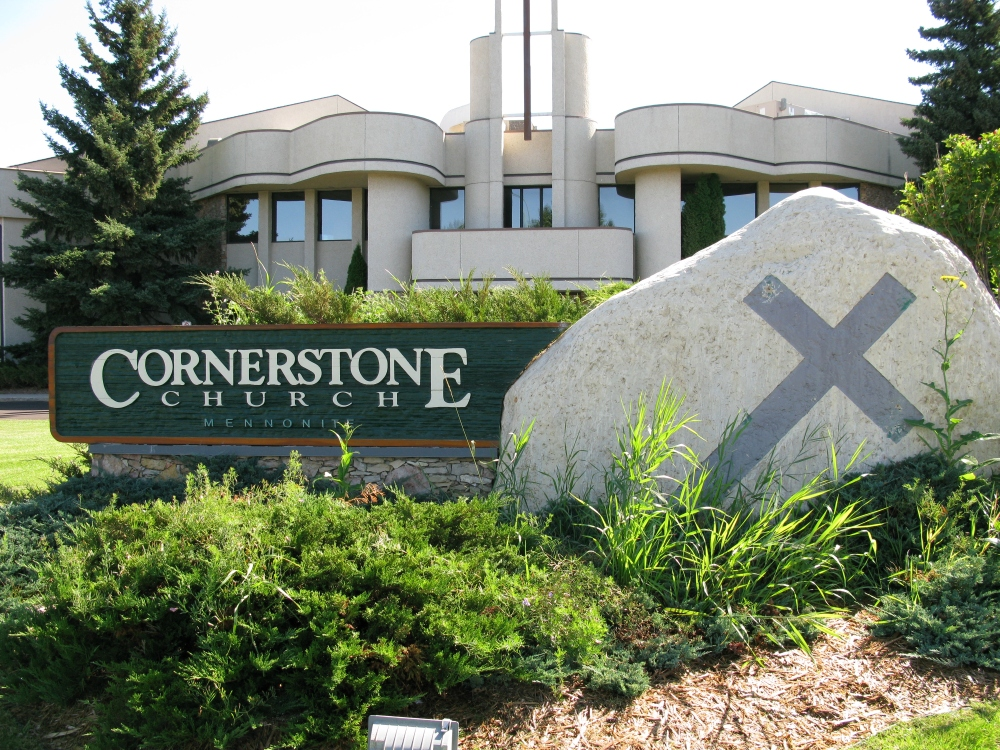 The name sign at Cornerstone Mennonite Church