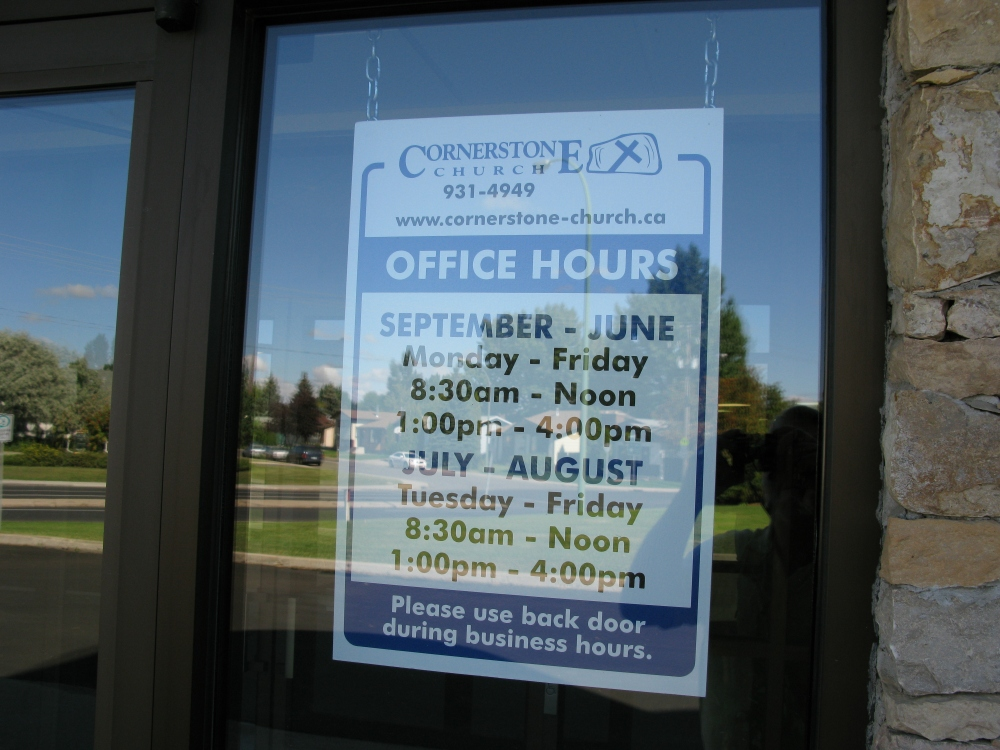 office door with hours