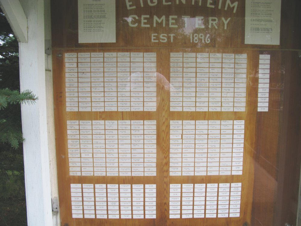Cemetery Memorial Board in Eigenheim Church