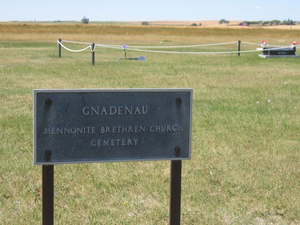 Gnadenau Mennonite Brethren Church - cemetery sign