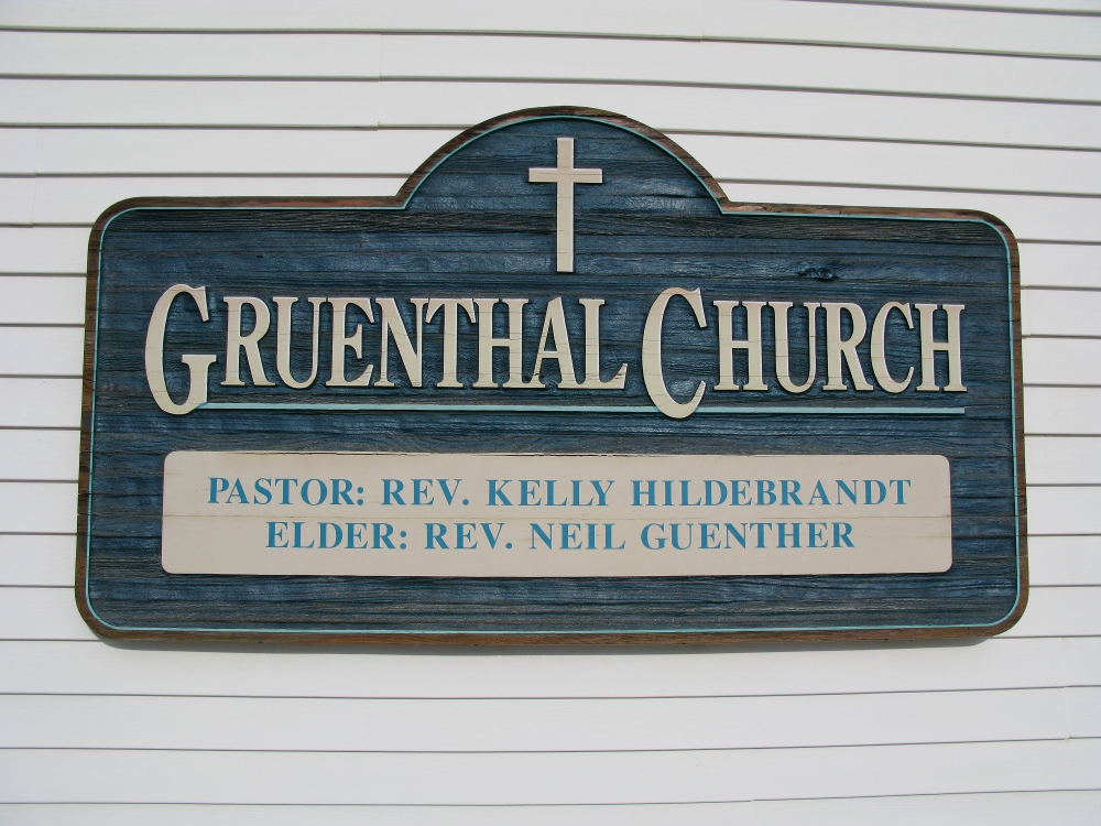 Gruenthal Church - name plate sign