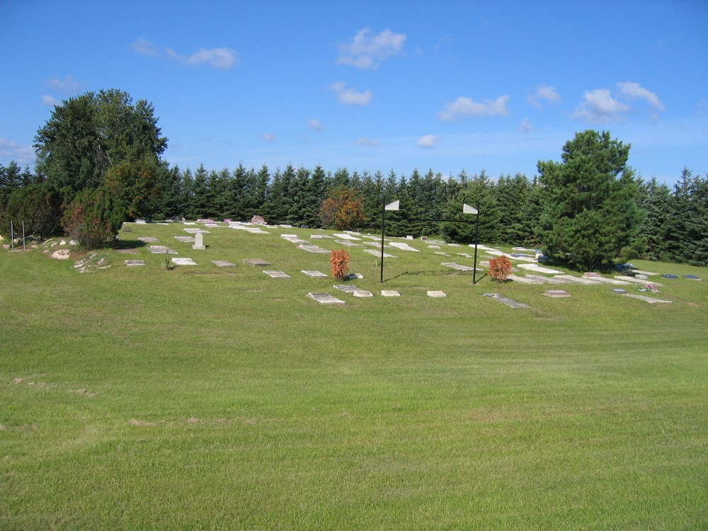 hillside view of cemetery
