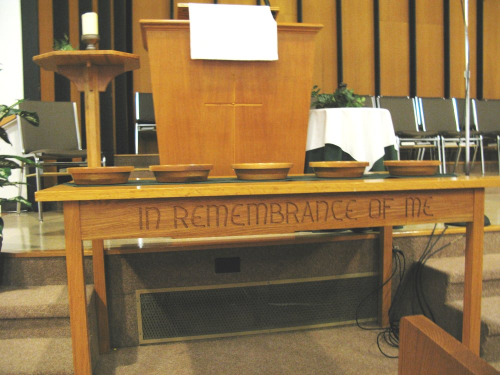 communion table in Nutana Park Mennonite