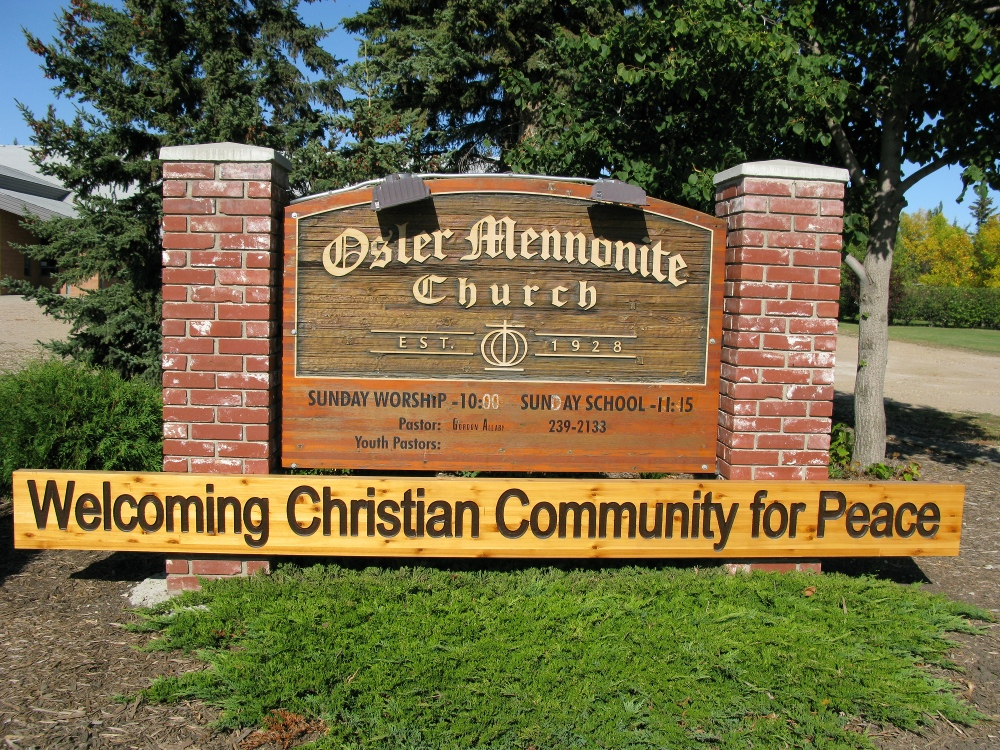 Osler Mennonite Church Weclome sign