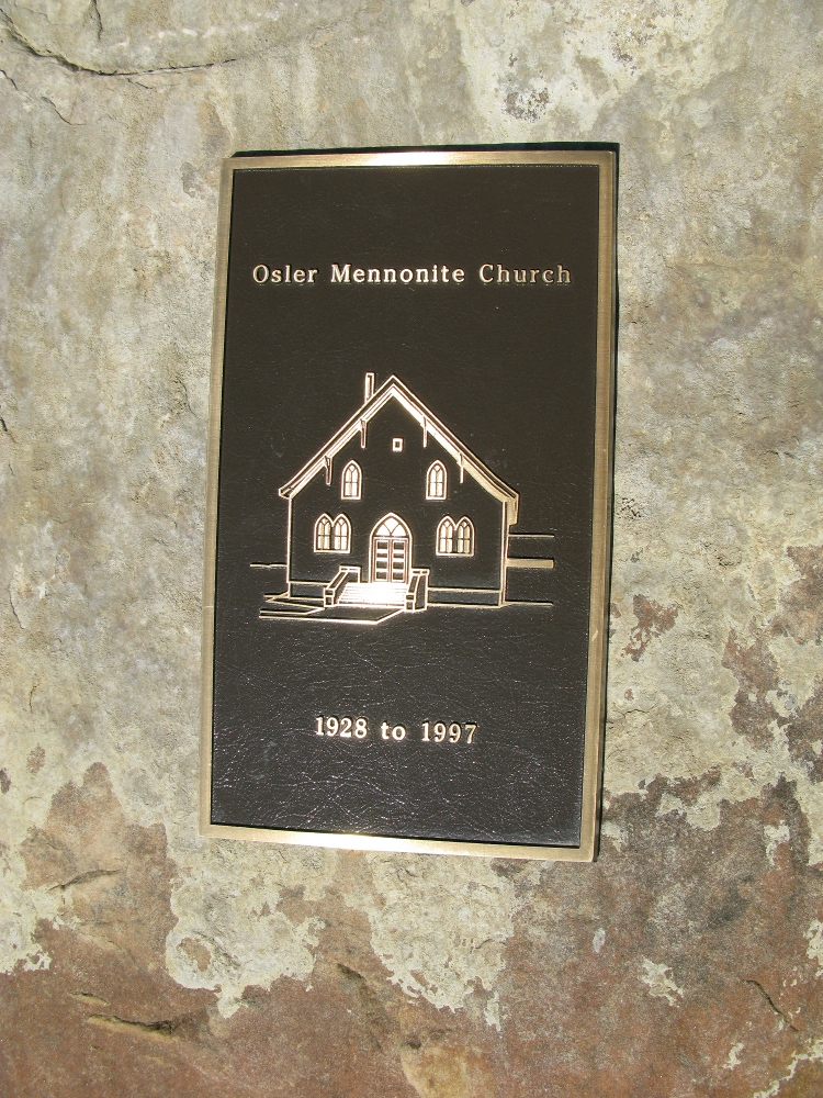 Osler Mennonite Church - name plaque