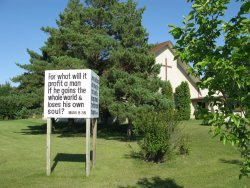Gospel Church in Warman - Scripture Sign to west side