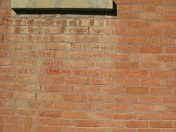 close up of bricks on Rosthern Heritage Museum