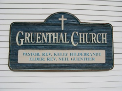 Gruenthal Church - the name plate sign