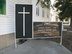 The sign for Hague Mennonite Church