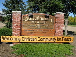 Osler Mennonite Church Welcome sign